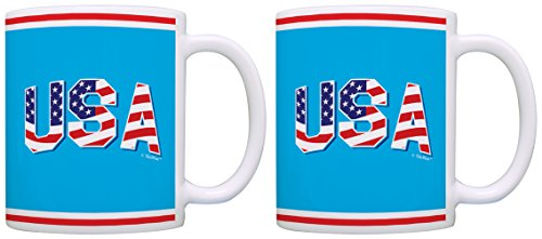 Patriotic Mugs USA Patriotic Stars and Stripes Filled 2 Pack Gift Coffee Mugs Tea Cups Blue