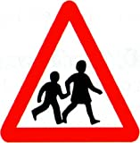 Reflective Road Traffic Sign - Beware of Children (3mm aluminium) 600mm high - For wall mounting