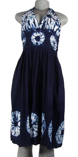 Indigo Dyed Halter Blue Dress