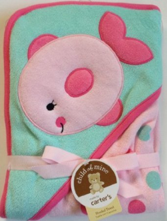 Carter's Pink Green Fish Hooded Hoodie Towel Polka Dots - 1