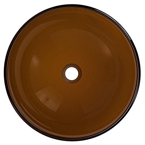 Tempered Glass Vessel Bathroom Vanity Sink Round Bowl, Tea Bronze Brown Color Hardware Plumbing