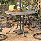 Home Style 5555-30 Biscayne Round Outdoor Dining Table, Rust Bronze Finish, 42-Inch