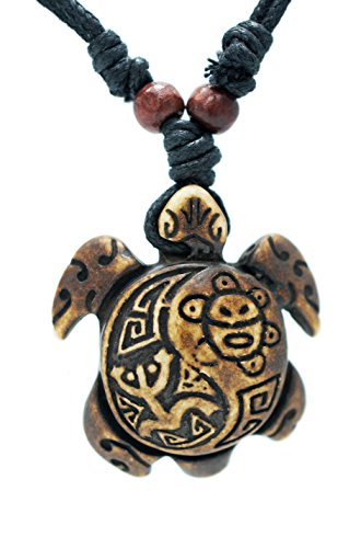 Exoticdream Turtle Necklace Yin Yang Coqui Taino Sun with Cotton Cord (Brown)