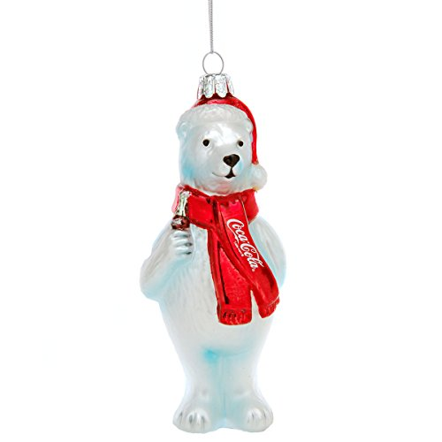 Kurt Adler Glass Coca-Cola Polar Bear Ornament, 5-Inch