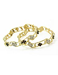 BDF Gold Plated CZ Stone Bangles. A Pair Of 2 With White And Red Stones. Available In 2.6 Size. - B00URAOZXQ