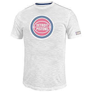 NBA Mens Detroit Pistons Post Up Short Sleeve Crew Neck Slub Tee By Majestic by Majestic