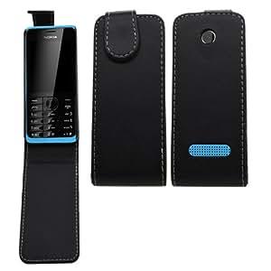 Samrick Specially Designed Leather Flip Case for Nokia Asha 301 - Black