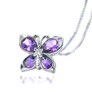 "Sterling Silver & Amethyst Butterfly Pendant with 18"" Chain"