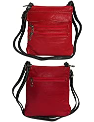NAZ Women Red Leather Sling Bag