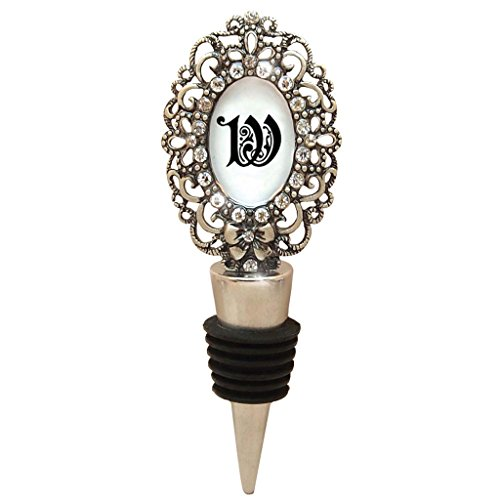 All For Giving Wine Bottle Stopper, Letter W Monogrammed, Pewter (Monogram Wine Stopper S compare prices)