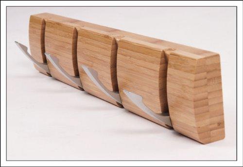 porte manteau en bois de bambou avec 4 crochets repliables 40x8x3 cm portemanteaux. Black Bedroom Furniture Sets. Home Design Ideas