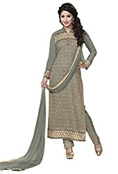 Adorn Mania Grey Georgette Embroidered salwar Suits Dress Material