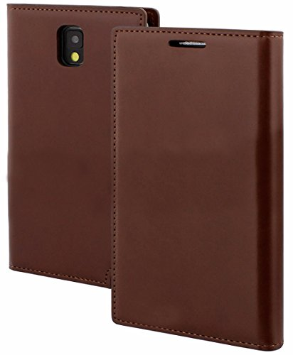 Mylife Chocolate Brown {Professional Design} Faux Leather (Card, Cash And Id Holder + Magnetic Closing) Slim Wallet For Galaxy Note 3 Smartphone By Samsung (External Textured Synthetic Leather With Magnetic Clip + Internal Secure Snap In Closure Hard Rubb