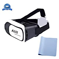 Atill 3D VR Virtual Reality Headset 3D Glasses For 3D Movies and Games(Focal and Pupil Distance Adjustable Headset for iPhone Samsung Moto LG Nexus HTC, Black/White) from Atill