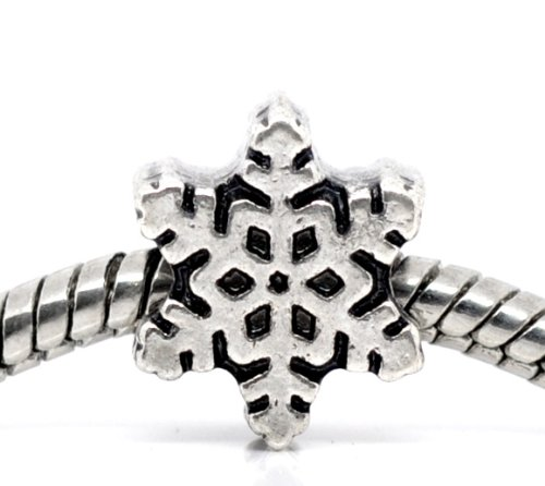 Believe Beads © X1 Silver Plated Snowflake Charm Bead will fit on Pandora/Troll/Chamilia Type Bracelets