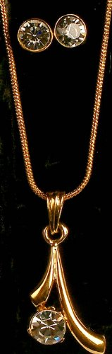 Gold Plated Necklace with Cut Glass and Earrings - Gold Plated Metal with Cut Glass