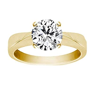 1.00 Carat D/VS1 Round Brilliant Certified Diamond Solitaire Engagement Ring in 18k Yellow Gold