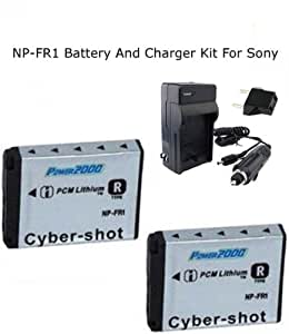 Excelshots 2 Pack Power Battery And Charger for Sony NP-FR1,BC-TR1 and Sony Cyber-shot DSC-F88, DSC-G1, DSC-P100, DSC-P150, DSC-P200, DSC-T30, DSC-T50, DSC-V3