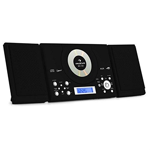 AUNA MC-120 Impianto Stereo Hi Fi Impianto Stereo Compatto (Lettore Cd, lettore MP3, Ingresso USB, Radio FM AM, Orologio Integrato) Nero