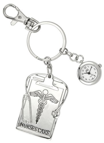 JAS Unisex Novelty Belt Fob/Keychain Watch Nurses Care Silver Tone image