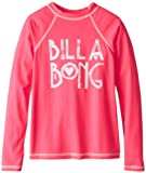 Billabong Girls 7-16 Teagan Long Sleeve Rashguard, Hot Pink, Medium
