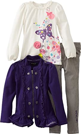 Calvin Klein Little Girls' Jacket With Tee And Gray Jean, Purple, 6