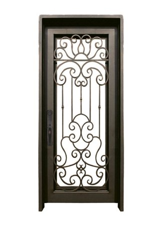 WI-68B Pre-hung wrought iron security entry doors with multi locking system