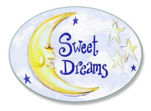 The Kids Room by Stupell Sweet Dreams Moon and Stars Oval Wall Plaque