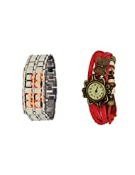 COSMIC COUPLE WATCH- RED LEATHER ANALOG WATCH FOR WOMEN AND SILVER CHAIN BRACELET WATCH FOR MEN