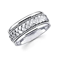 Solid 14k White Gold Mens Braided Rope Design Wedding Ring Band 8MM Size 10.5