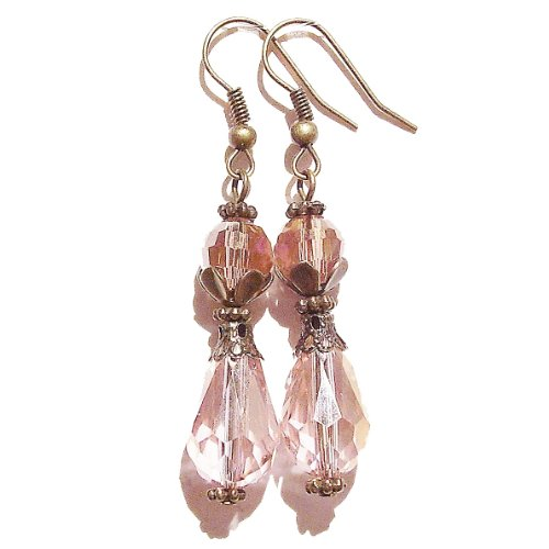 Vintage Style Faceted Crystal & Brass Earrings - Pale Pink