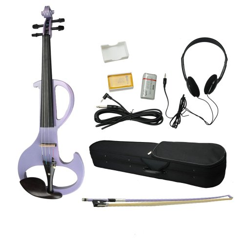 High-Grade 8 Pattern Electroacoustic Violin And Accessories Kit (Case + Bow + Rosin) Light Purple