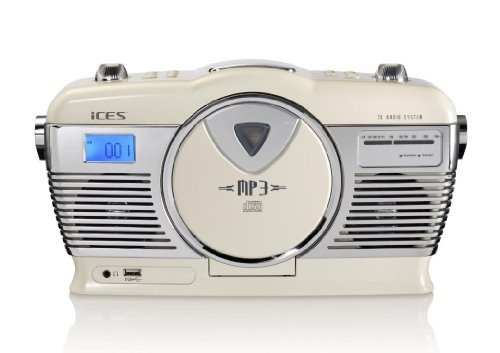 iCES ISCD-33 tragbares Retro-Radio mit CD/MP3-Player (USB) rot