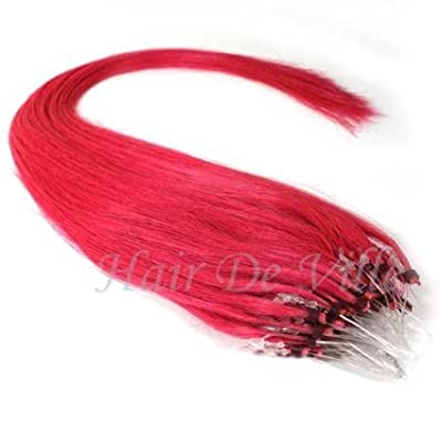 "25 Strands 22"" Long Micro Loop Ring Beads I Tip Human Hair Extensions Hot Pink 0.8g Each Strand"