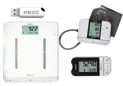 HoMedics MiBody Scales, Pedometer and Blood Pressure Monitor Fitness Analysis Set