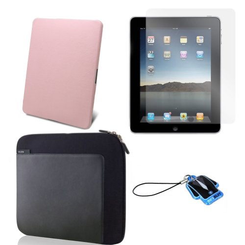(Pink Stone) Apple iPad skin silicone case / leather case for iPad 3G cover neoprene sleeve case accessory bundle + screen protector + MiniSuit LCD Cleaner