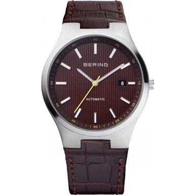 Bering Time 13641-505 Mens Brown Radio Controlled Calfskin Leather Watch