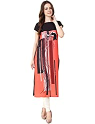 Binny Creation Women's Art Crepe Digital Print Straight Kurta (BK1019-SC-03)