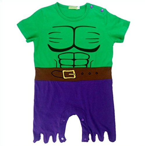 [So Sydney Superhero Onesie Romper for Infant, Baby, Toddler, Boy or Girl (100 (18-24 Months), Incredible Hulk - Green &] (The Incredibles Costume Girl)