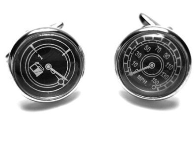MPH & Gas Speedometer Fuel Gauge Silver Cufflinks + Free Box & Cleaner