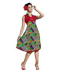 Viva N Diva Women's Green Color Cotton Rayon Kurti.