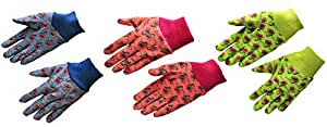 "G & F 1823-3 ""Just For Kids"" Soft Jersey Kids Gloves, 3 Pairs Green/Red/Blue per Pack, Kids Size"