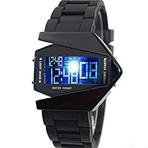 Cool Men's Oversized Light Digital Sports Quartz RUBBER Wrist Watches Black