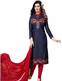 Aryan Fashion Designer Navy Blue & Red Cotton Embroidered Semi-Stitched Salwar Suit For Women & Girls Party Wear...