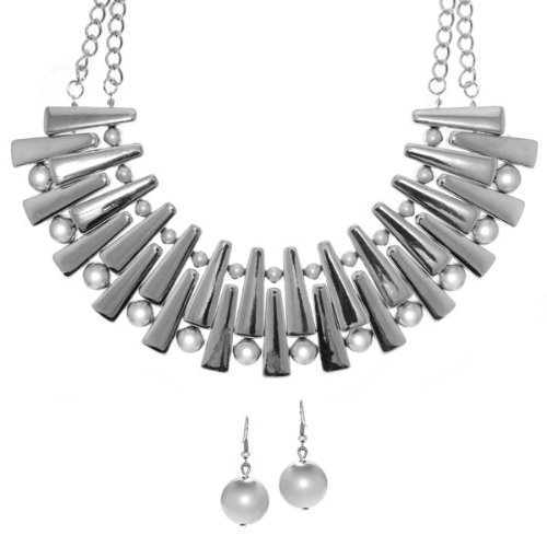 Dagny's Sticks and Stones Silver Statement Necklace and Earring Set