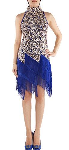 JustinCostume 1920s Sequined Retro Pattern Flapper Dress Halloween Costume, XS,Blue (Latin Dancing Costume Patterns)