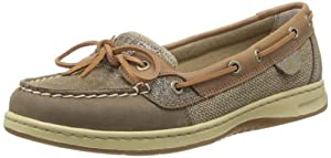 Sperry Top-Sider Women's Angelfish Sparkle Suede Boat Shoe, Griege/Light Tan, 6 M US