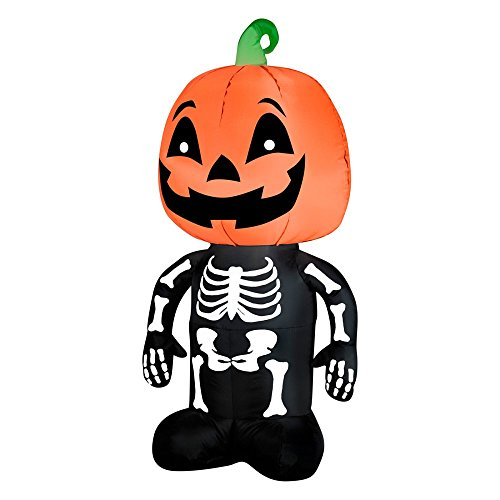 Gemmy Airblown Pumpkin Boy Skeleton Inflatable