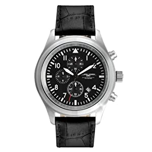 Jorg Gray 4540 Chrono Pilot 44mm Watch - Black Dial, Black Crocodile Strap JG4540