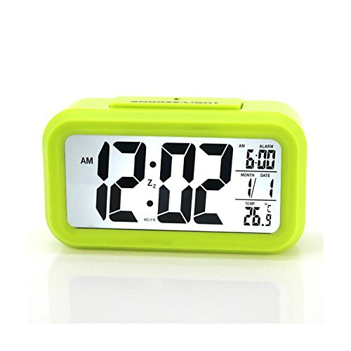 Zenmil® Brand New Generic Digital LCD Alarm Clock Multi Functions Showing Time, Alarm Time, Temperature and Calendar Snooze Function with 4.5inch LCD Displays and Touch-activated Nightlight, Perfect Nightstand, Bedside or Office Desk Alarm Clock (Green)